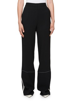 Proenza Schouler High-Waist Wide-Leg Pants with Stitching Detail