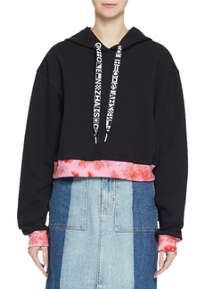 Proenza Schouler Jersey Cotton Hoodie Sweatshirt with Tie-Dye Detail
