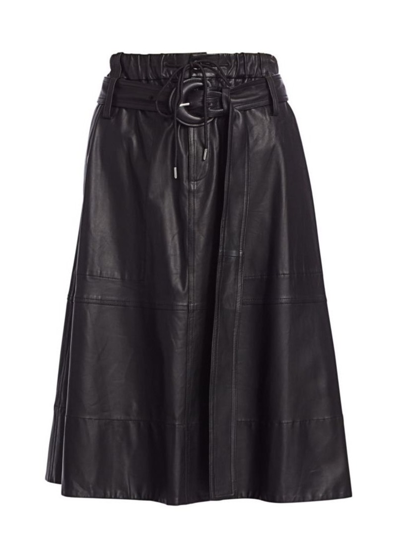 Proenza Schouler Leather Belted Midi Skirt