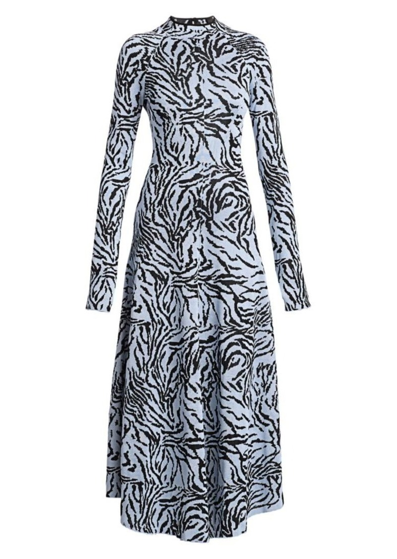Proenza Schouler Long-Sleeve Animal-Print Midi Dress