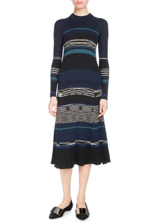 Proenza Schouler Long-Sleeve Crewneck Striped Ribbed Wool-Blend Dress