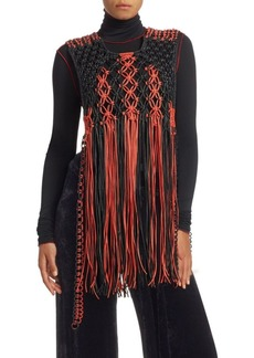 Proenza Schouler Macramé Fringe Leather Sleeveless Top