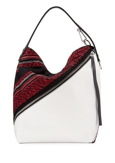Proenza Schouler Medium Woven-Fabric/Leather Hobo Bag
