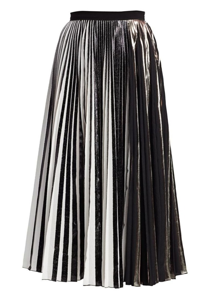 Proenza Schouler Metallic Plissé Pleated Midi Skirt