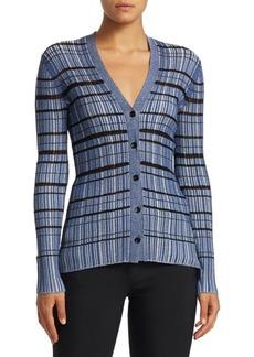 Proenza Schouler Metallic Striped Silk-Blend Cardigan