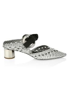 Proenza Schouler Metallic Woven Point Toe Mule Pumps