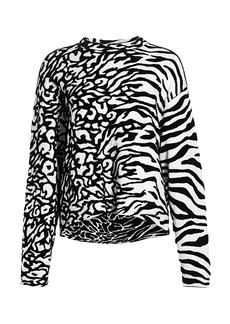Proenza Schouler Mixed Animal-Print Jacquard Pullover