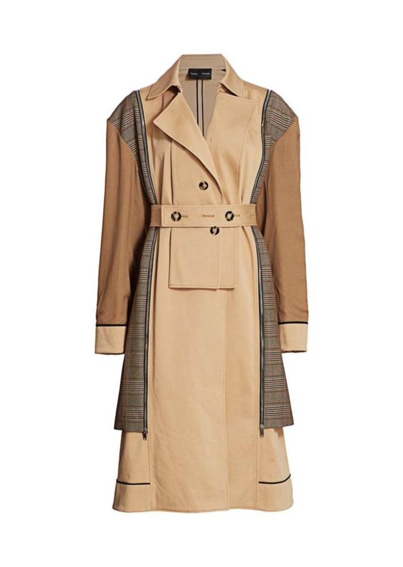 Proenza Schouler Mixed Glen Plaid Belted Trench Coat