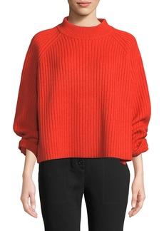 Proenza Schouler Mock-Neck Raglan Sleeve Ribbed Wool-Blend Sweater w/ Side Slit