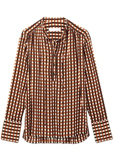 Proenza Schouler Multicolor Gingham Georgette Long Sleeve Blouse
