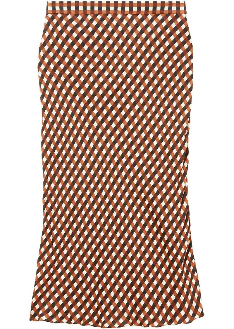 Proenza Schouler Multicolor Gingham Georgette Slip Skirt