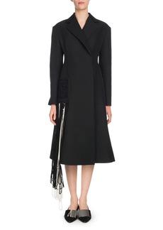 Proenza Schouler Notched-Lapel Self-Belt Yarn-Fringe Wool-Blend Coat