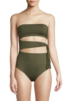 Proenza Schouler One-Piece Cut-Out Bandeau Swimsuit