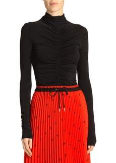 Proenza Schouler Open-Back Fitted Ruched Turtleneck Top
