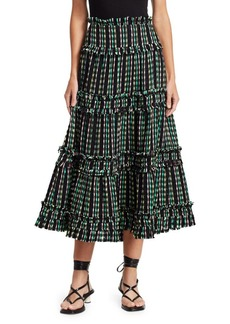 Proenza Schouler Open Weave Tiered Midi Skirt