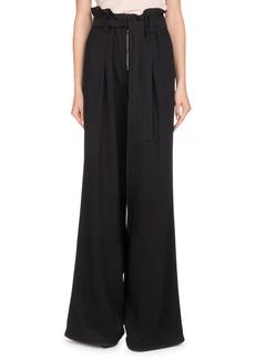 Proenza Schouler Paperbag-Waist Wide-Leg Crepe Pants w/ Self-Tie Belt
