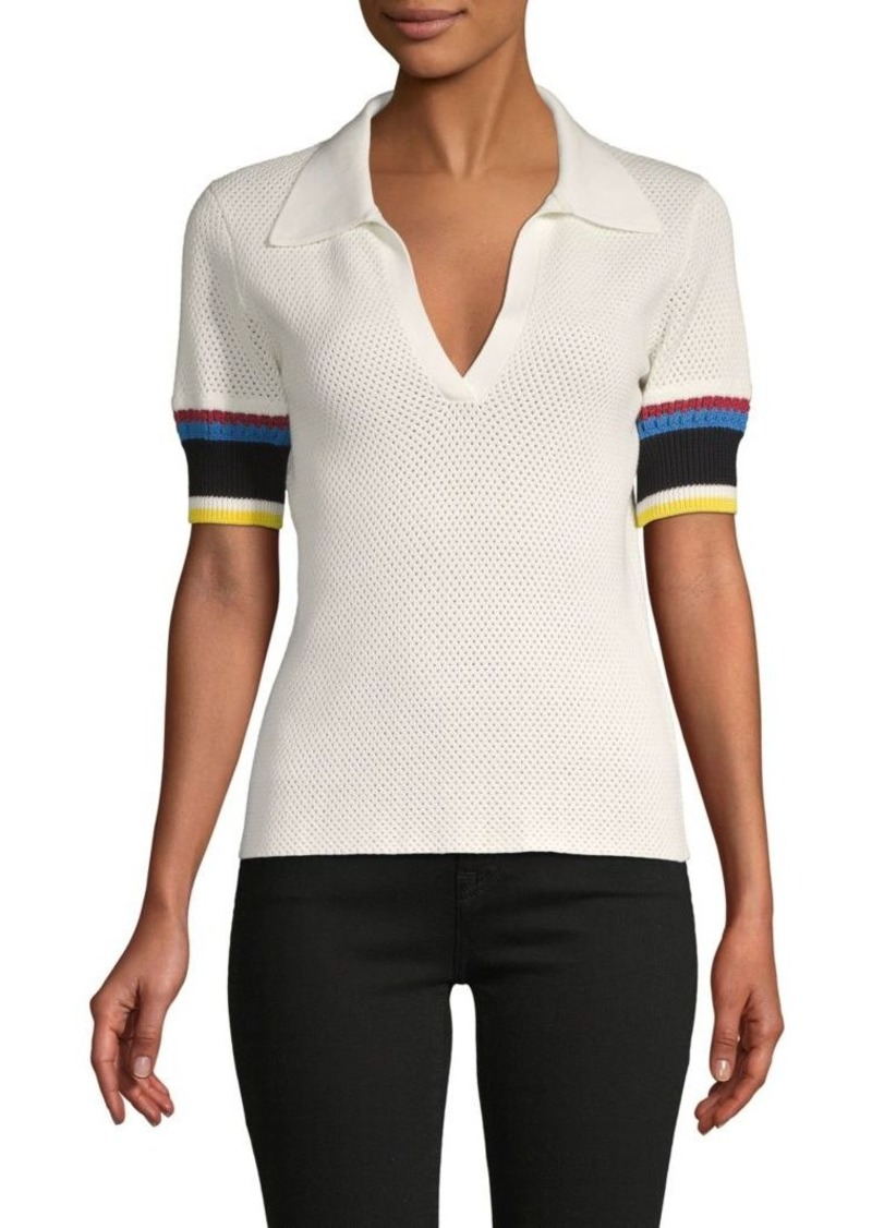 Proenza Schouler Perforated Stretch-Cotton Polo