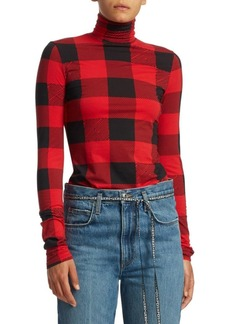 Proenza Schouler Plaid Turtleneck Jersey Top