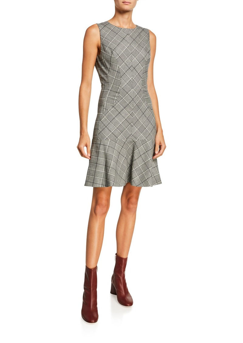 Proenza Schouler Plaid Wool Sleeveless Flounce Dress