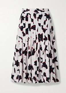 Proenza Schouler Pleated Floral-print Georgette Midi Skirt