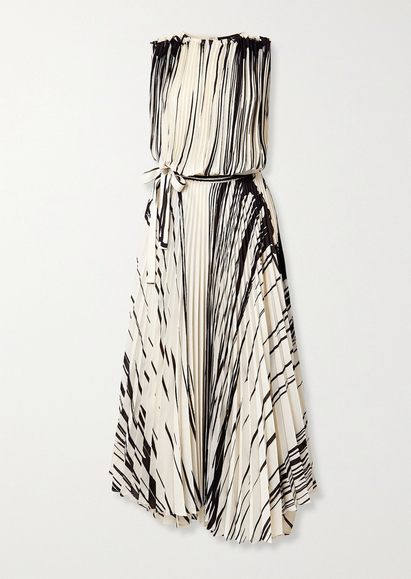 Proenza Schouler Pleated Printed Crepe Wrap Maxi Dress