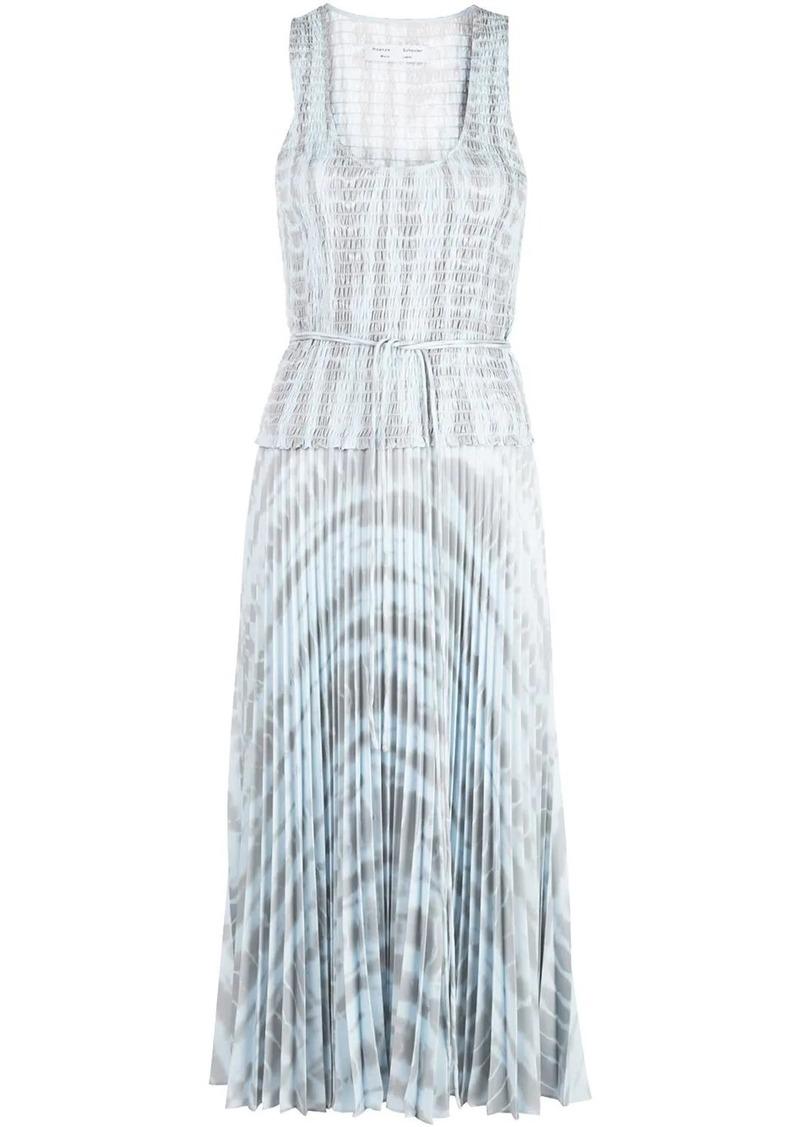 pleated tie-dye dress