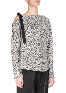Proenza Schouler Popcorn Flower Off-the-Shoulder Tunic Top  White/Black