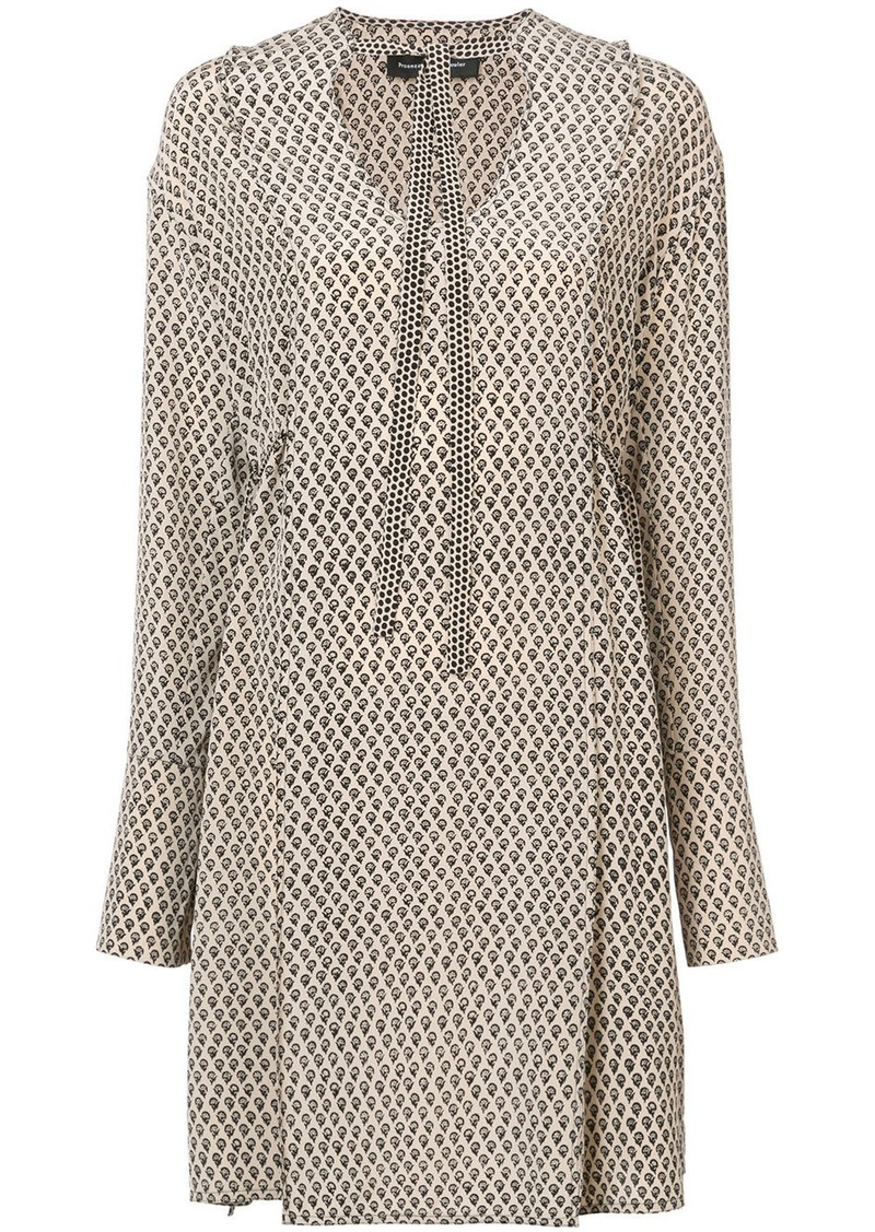 Proenza Schouler Silk Block Print Long Sleeve Dress