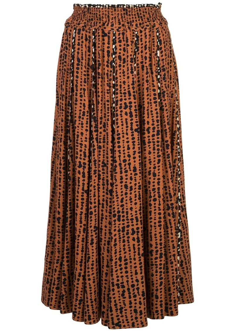 Proenza Schouler printed-dot pleated skirt