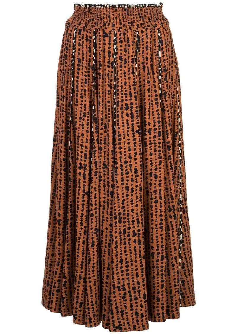 Proenza Schouler printed-dot pleated skirt