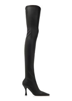 Proenza Schouler - Women's Faux Leather Stretch Thigh-High Boots - Black/off-White - Moda Operandi