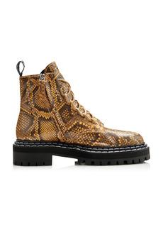 Proenza Schouler - Women's Snake-Effect Leather Combat Boots - Animal - Moda Operandi
