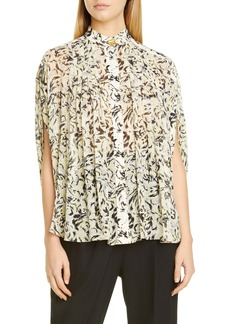 Proenza Schouler Abstract Animal Print Crepe Chiffon Blouse