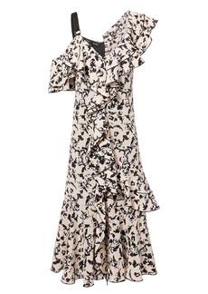 Proenza Schouler Asymmetric Floral Midi Dress