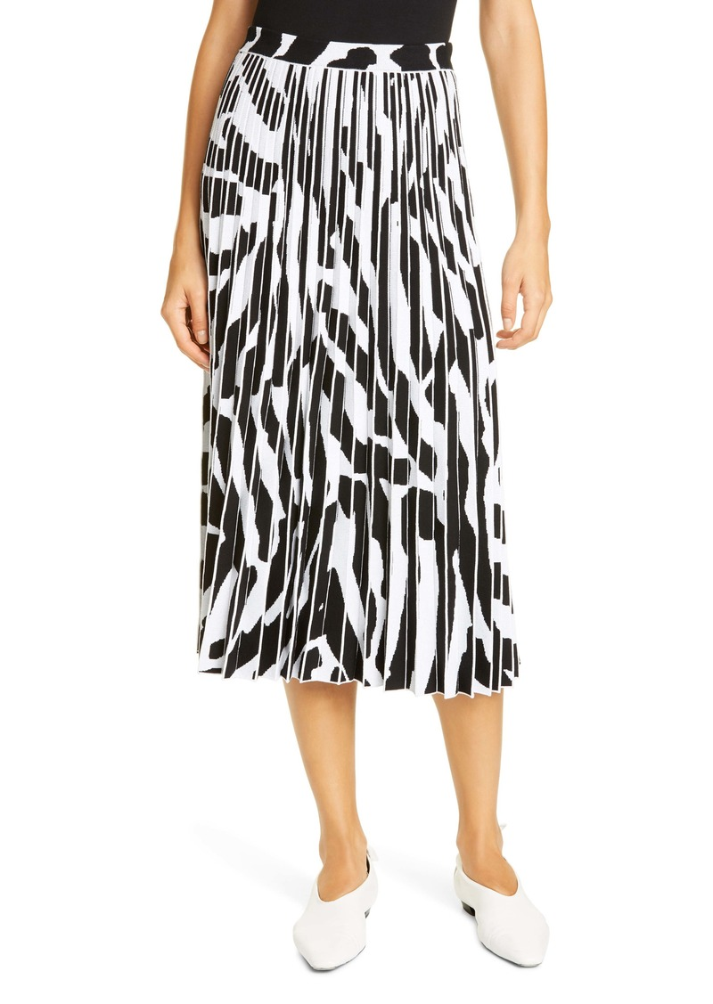 Proenza Schouler Animal Pattern Pleated Jacquard Midi Skirt