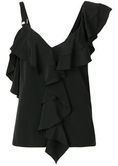 Proenza Schouler asymmetric ruffle blouse - Black