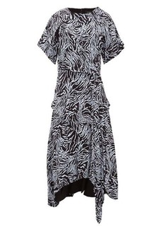 Proenza Schouler Asymmetric zebra-print crepe dress