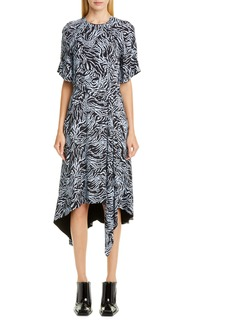 Proenza Schouler Asymmetrical Animal Print Crêpe de Chine Midi Dress