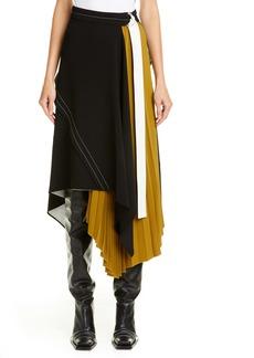 Proenza Schouler Asymmetrical Side Pleat Crepe Skirt