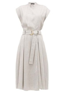 Proenza Schouler Belted pleated-twill wrap dress