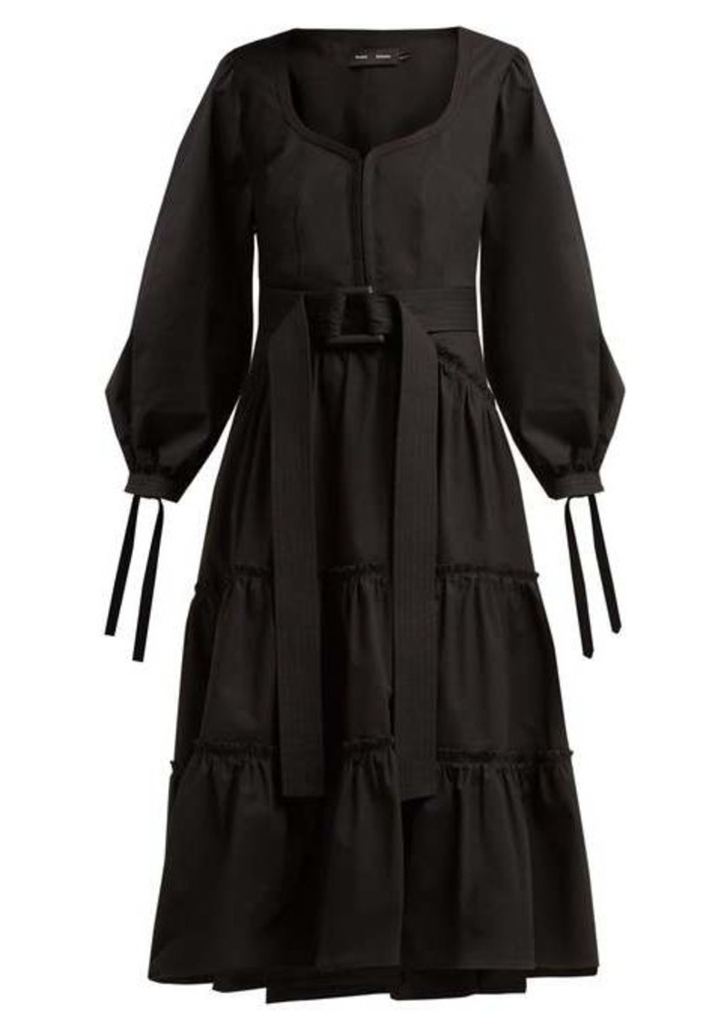 Proenza Schouler Belted tiered cotton midi dress