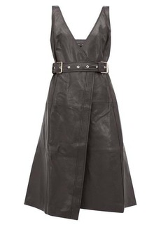 Proenza Schouler Belted V-neck leather wrap dress