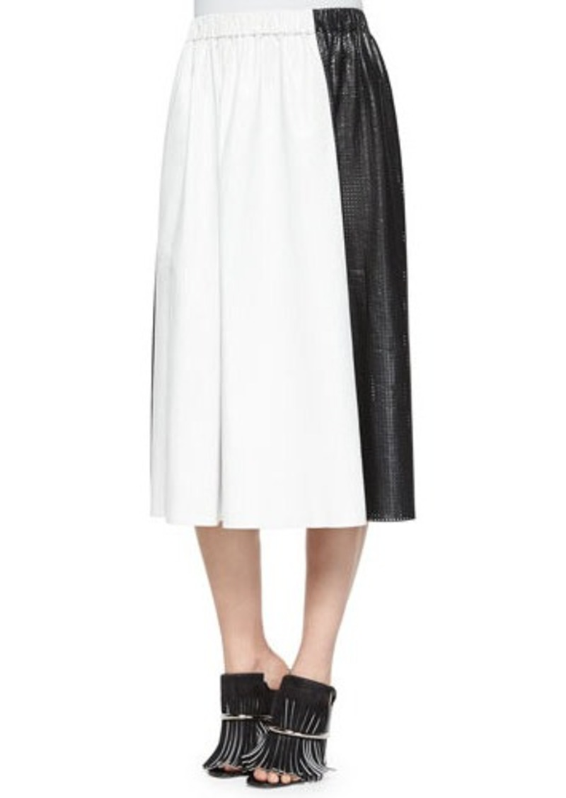 Proenza Schouler Bicolor Paper Leather Midi Skirt