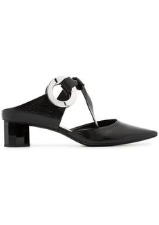 Proenza Schouler Black Grommet 40 leather Block Heel Mules