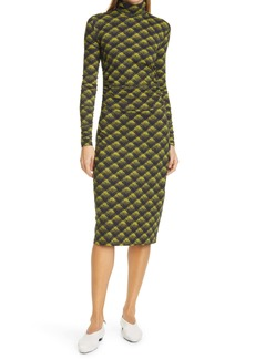 Proenza Schouler White Label Brushed Plaid Long Sleeve Stretch Jersey Dress