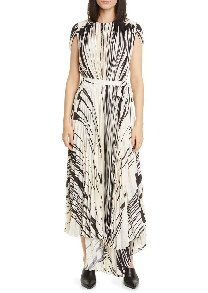 Proenza Schouler Brushstroke Print Pleated Dress
