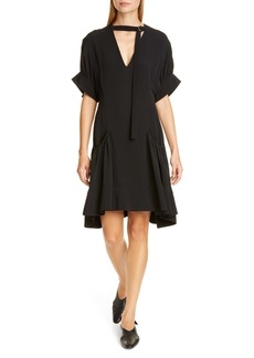 Proenza Schouler Buckle Strap Short Sleeve Crepe Dress