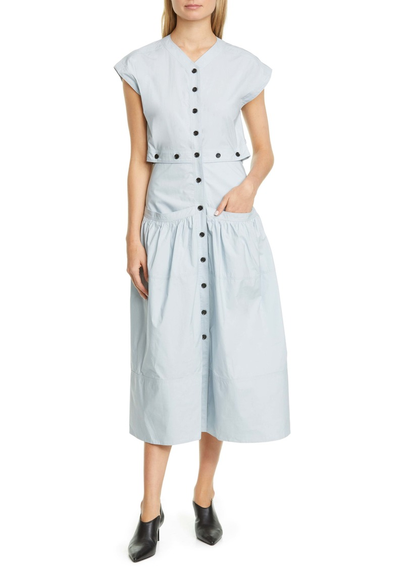 Proenza Schouler Button Cotton Poplin Dress