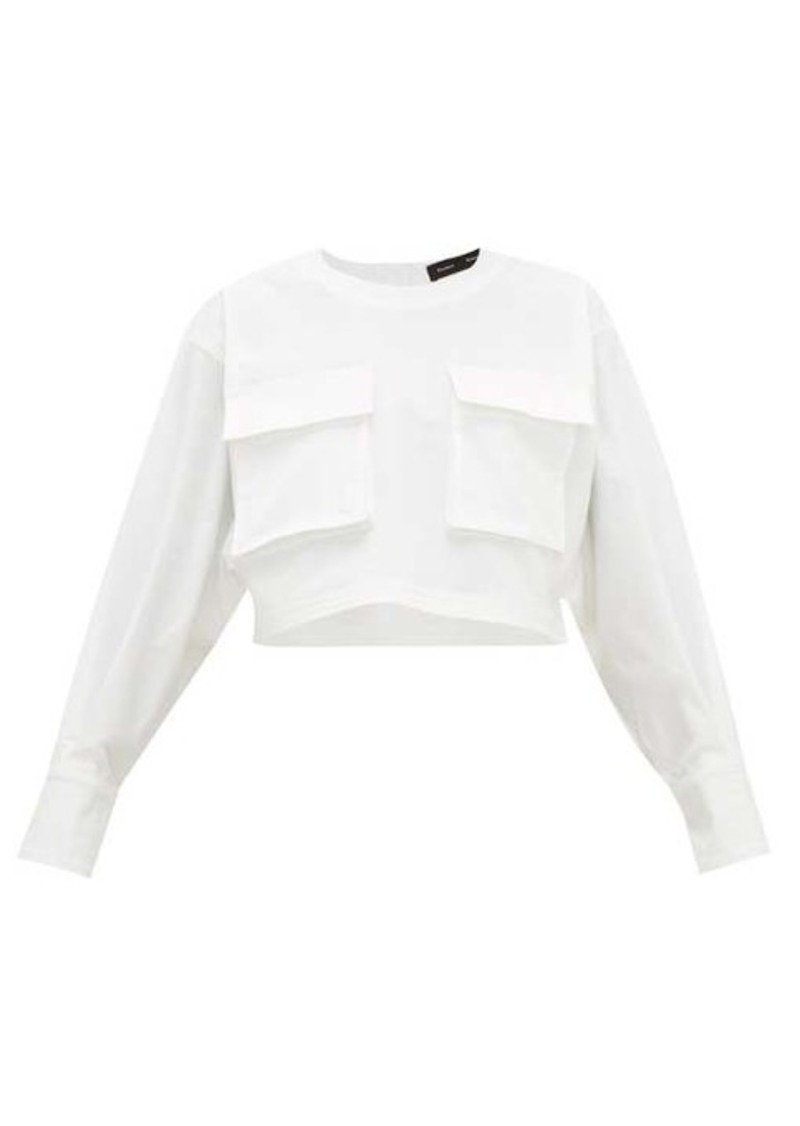 Proenza Schouler Cargo-pocket long-sleeve cotton-blend top