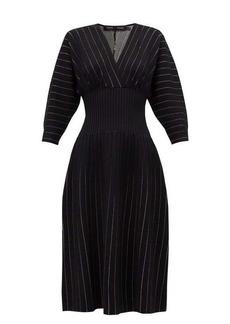 Proenza Schouler Chalk-stripe ribbed-waist jersey midi dress
